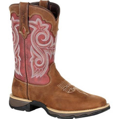Lady Rebel by Durango Women's Red Western Boot 0349 BRIAR BROWN AND RUSTY RED