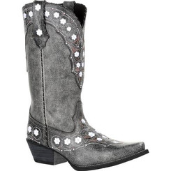Crush by Durango Women's Pewter Floral Western Boot 0361 PEWTER