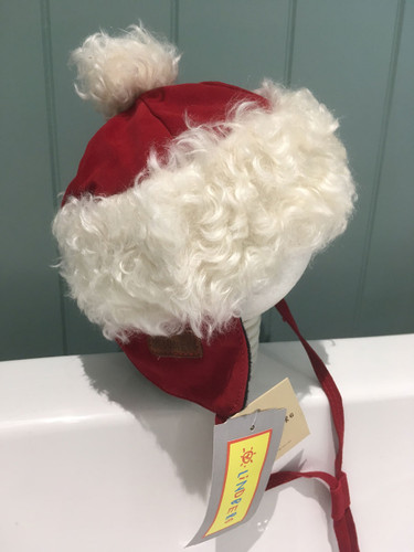Gorgeous Reindeer leather baby hat with Mohair trim