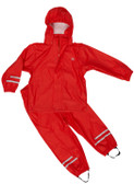 Elka 2 piece rainset in red (dungarees ages up to and including age 3; trousers for larger suits)