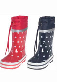 Choice of red or navy spotty wellies
