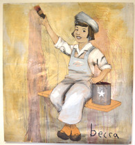 Becca Midwood Large Original Painting on Wood, Dutch Girl