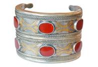Turkoman Tribal Silver Carnelian Cuff