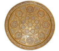 19th Century Silver + Copper Overlaid Brass Tray