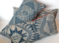 Indigo Brocade Textile Pillow SOLD