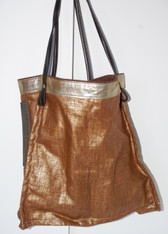 Copper Waxed Linen Small Tote