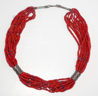 Antique Rajasthan Red White Heart Silver Necklace
