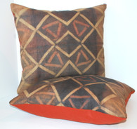 African Tie Dye Kuba Raffia Cloth Pillow