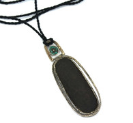 Lou Zeldis Sterling Wood Turquoise Pendant Necklace SOLD