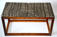 Mid Century Walnut Bench w/Mud Cloth SOLD