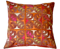 "Large Phulkari Textile Embroidery Pillow 26""square"