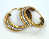 18k 2-Color Gold Hoop Earrings