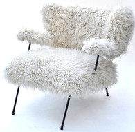 Mid Century Wooly Lounge Chair in the style of Jean Royere SOLD