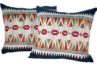 Embroidered Laotian Tribal Pillow Pair