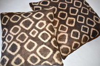 African Kuba Raffia Tie-Dye Pillow Pair SOLD