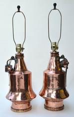 Antique Anatolian Copper Vessel Lamp Pair
