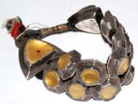 Antique Uttar Pradesh Tribal Silver/Yellow Glass Bracelet SOLD