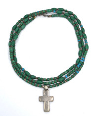 Antique Ethiopian Cross with 19c Green Chevron Beads