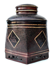Burmese Lacquer Incised Lidded Container