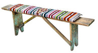 1920s Mexican Wood Bench with Antique Serape Cushion SOLD
