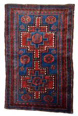 Antique Russian Caucasian Pile Rug