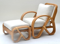 1950s Pretzel Bamboo Rattan Lounge Chair and Ottoman SOLD