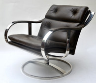 1970s Steelcase Leather Lounge Chair Gardner Leaver