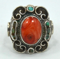 1930s Matilde Poulet Matl Coral Silver Turquoise Ring