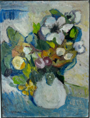 Mid Century Oil on Canvas Painting of Flowers in a Vase SOLD