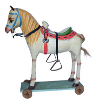 "1950-60s Mexican Folk Art Paper Mache Wood Pull Horse 27""h"