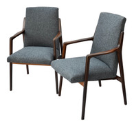 Danish Mid Century Modern Highback Walnut Chair Pair SOLD