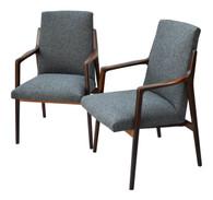 Danish Mid Century Modern Highback Walnut Chair Pair