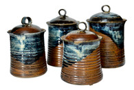 Vintage Mid Century Stoneware Pottery Canister- Set of 4