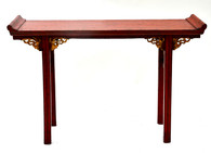 19th C Chinese Red Lacquered Altar Table With Gold Detail