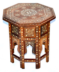 Anglo-Indian Bone Inlaid Wood Side Table SOLD