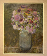 John Clark Oil Painting 'Artichoke Blossoms' 1961 for Gumps SF Gallery