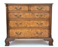 English Georgian Style Walnut Burl Chest of Drawers