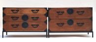 19th C Japanese Two-Section Natural Wood Tansu on Stands