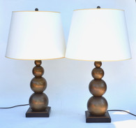 e.f. Chapman Antiqued Brass Stacked Balls Table Lamp Pair for Visual Comfort
