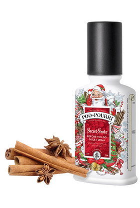Helping the naughty smell nice!  Get a one-way ticket to the Nice List by leaving the toilet smelling better than you found it. Poo~Pourri Secret Santa is a blend of cinnamon, vanilla and citrus natural essential oils that eliminates bathroom odor before it begins by creating a barrier on the water's surface. It's a Spritzmas miracle!