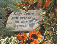 """Memorial Stone - """"Dogs leave..."""" w/ Paw Print"""