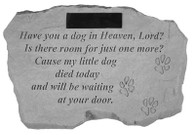 "Personalized Memorial Stone - ""Have you a dog..."" w/ Paw Prints"