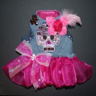 Rocker Glam Upcycled Denim Skull Studded Ruffle Harness Vest