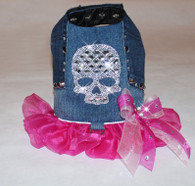 Studded Denim Rhinestone Crystal Bling Skull Harness Dress