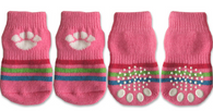 Pink Paw and Stripe Non-Skid Dog Socks