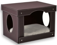 Decorative Brown Faux Leather Cat Hut Bed