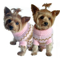 Pink Snowflake Dog Sweater