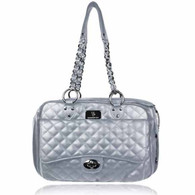 Vanderpump Quilted Classic Luxury Pet Carrier – Silver