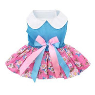 Plumeria Floral Pink/Blue Dress with matching leash