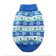 Blue Snowflakes & Hearts Cotton Knit Sweater